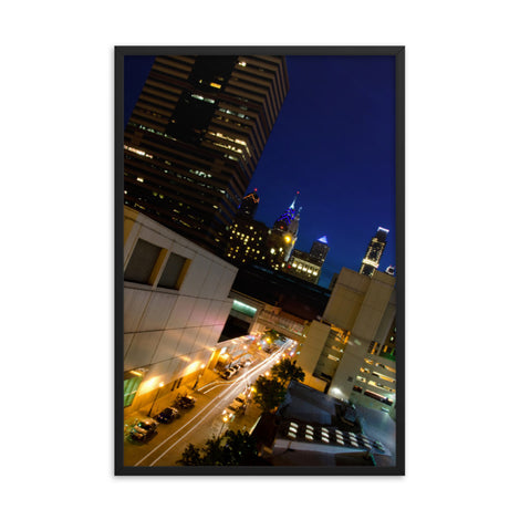 Light Trails in Philly Urban Landscape Photo Framed Wall Art Print