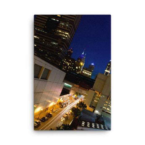 Light Trails in Philly Urban Landscape Traditional Canvas Wall Art Print