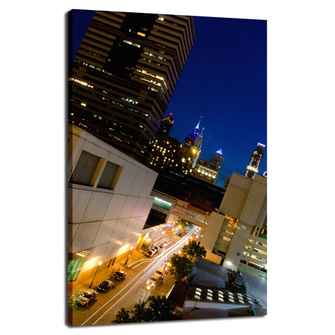 Light Trails in Philly Night Photo Fine Art Canvas Wall Art Prints