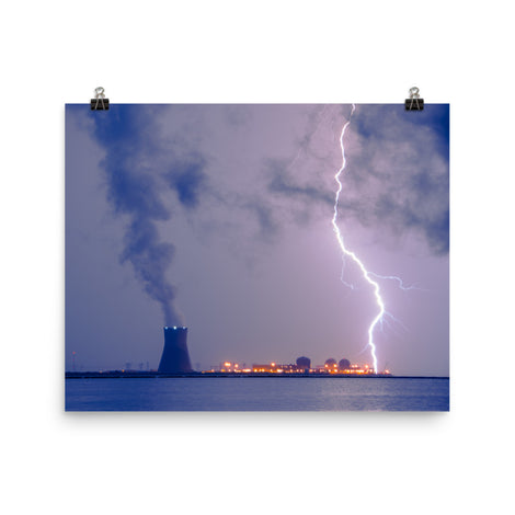 Lightning And Salem Power Plant 2 Urban Landscape Loose Unframed Wall Art Prints