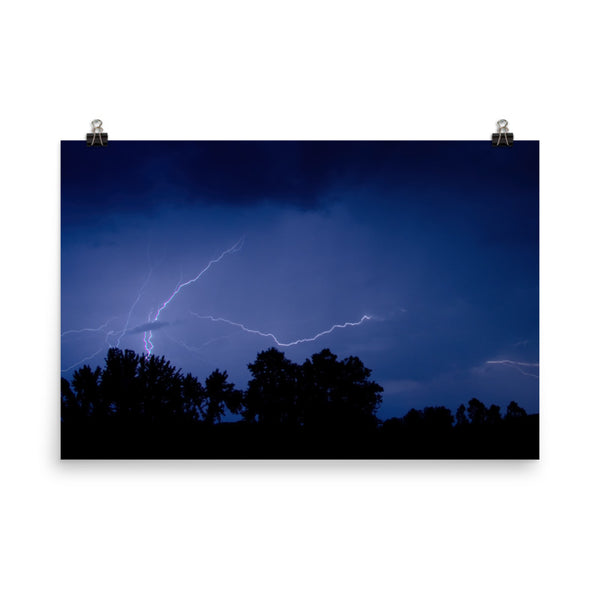 Lightning Over The Valley Urban Landscape Loose Unframed Wall Art Prints  - PIPAFINEART