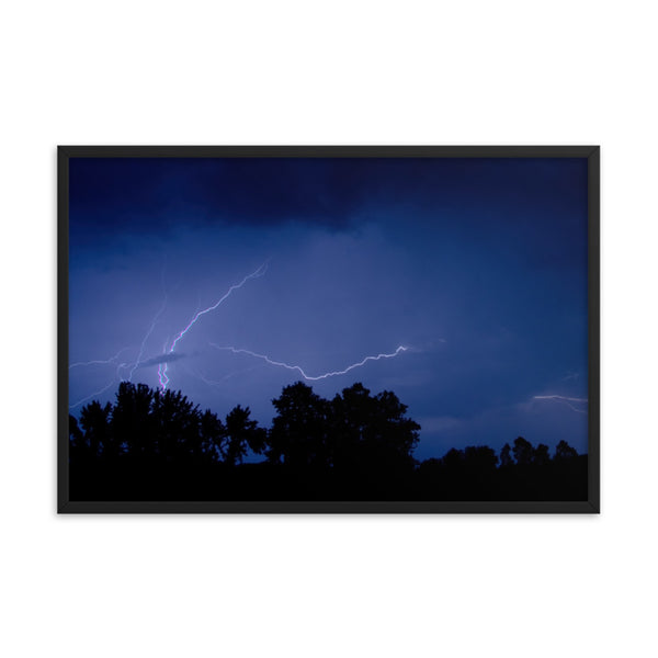 Lightning Over The Valley Urban Landscape Photo Framed Wall Art Print  - PIPAFINEART