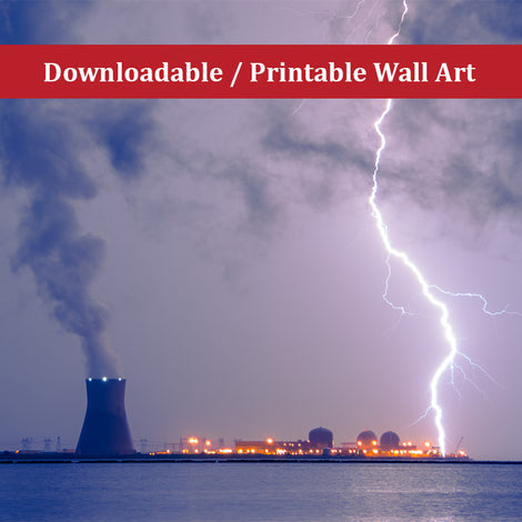 Lightning and Salem Power Plant 2 Urban Night Landscape Photo DIY Wall Decor Instant Download Print - Printable
