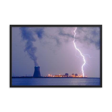 Lightning and Salem Power Plant 2 Urban Landscape Photo Framed Wall Art Print