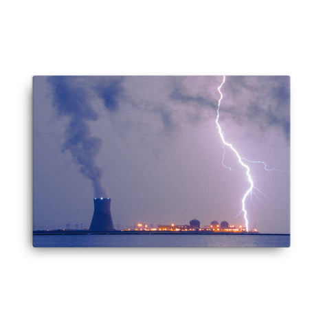 Lightning and Salem Power Plant 2 Urban Landscape Traditional Canvas Wall Art Print