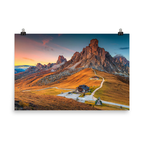 Majestic Sunset and Alpine Mountain Pass Landscape Photo Loose Wall Art Prints  - PIPAFINEART