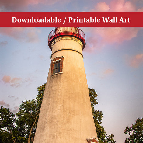 Marblehead Lighthouse at Sunset From the Shore Landscape Photo DIY Wall Decor Instant Download Print - Printable