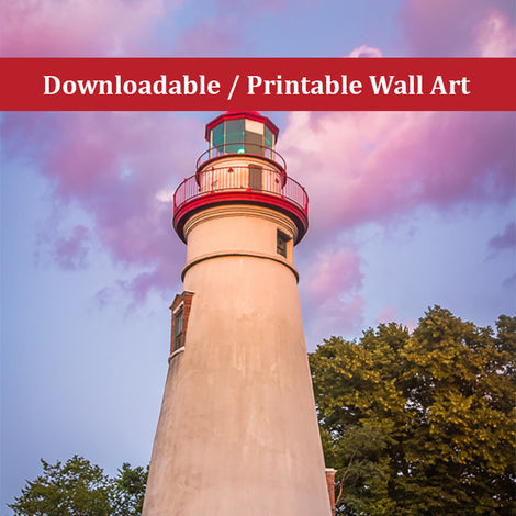 Marblehead Lighthouse at Sunset Landscape Photo DIY Wall Decor Instant Download Print - Printable