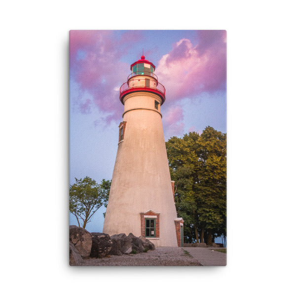 Marblehead Lighthouse at Sunset Coastal Landscape Canvas Wall Art Prints  - PIPAFINEART