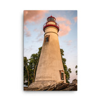 Marblehead Lighthouse at Sunset From the Shore Canvas Wall Art Prints  - PIPAFINEART