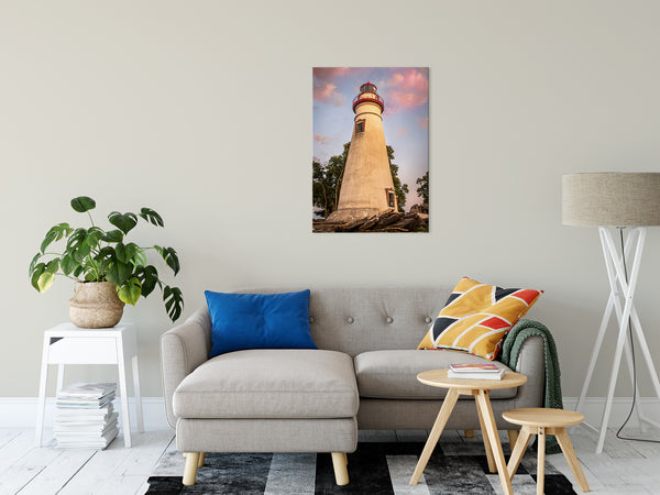 "Marblehead Lighthouse at Sunset From the Shore Fine Art Canvas Wall Art Prints 24"" x 36"" - PIPAFINEART"