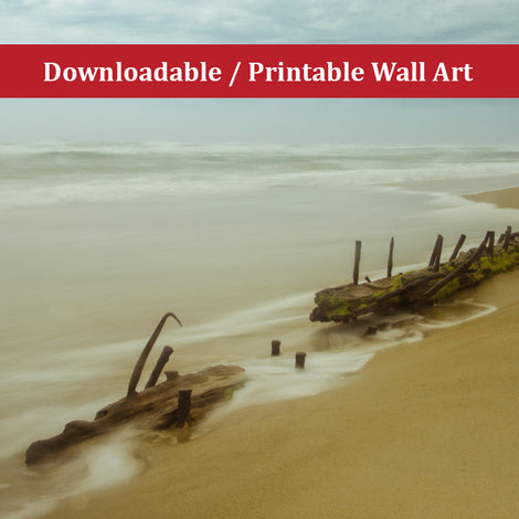 Misty Shipwreck on the Beach Landscape Photo DIY Wall Decor Instant Download Print - Printable