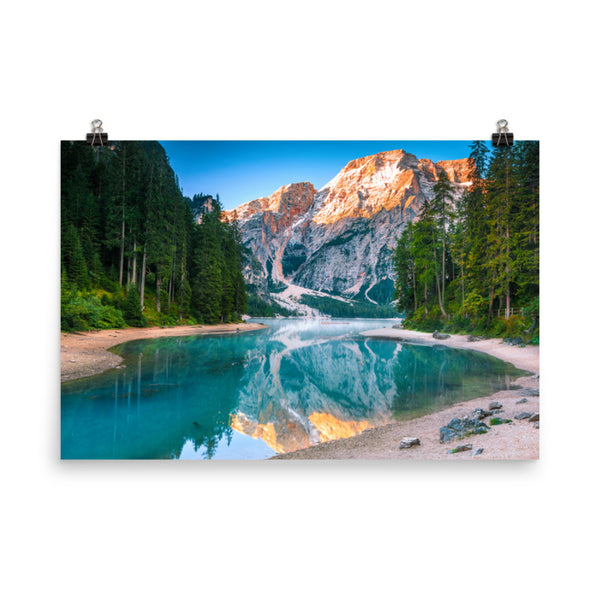 Misty Lake and Snow-cap Mountain Reflections Landscape Photo Loose Wall Art Prints  - PIPAFINEART
