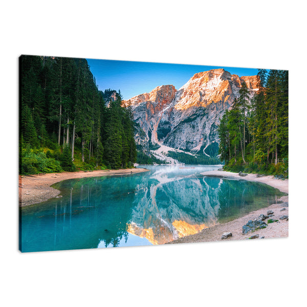 Misty Lake and Snow-cap Mountain Reflections Landscape Wall Art & Canvas Prints - PIPAFINEART