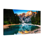 Faux Wood Misty Lake and Snow-cap Mountain Reflections Landscape Wall Art & Canvas Prints - PIPAFINEART