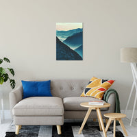 "Misty Blue Silhouette Mountain Range Landscape Fine Art Canvas Wall Art Prints 20"" x 30"" - PIPAFINEART"