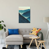 "Misty Blue Silhouette Mountain Range Landscape Fine Art Canvas Wall Art Prints 24"" x 36"" - PIPAFINEART"