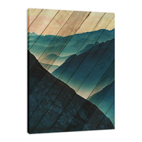 Faux Wood Misty Blue Silhouette Mountain Range Fine Art Canvas Wall Art Prints - Rural / Farmhouse / Country Style Landscape Scene