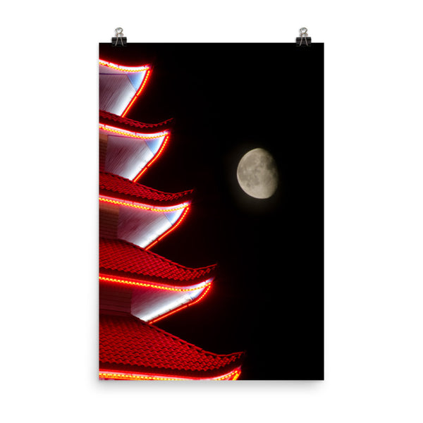 Moon Over Pagoda 1 Urban Landscape Loose Unframed Wall Art Prints  - PIPAFINEART