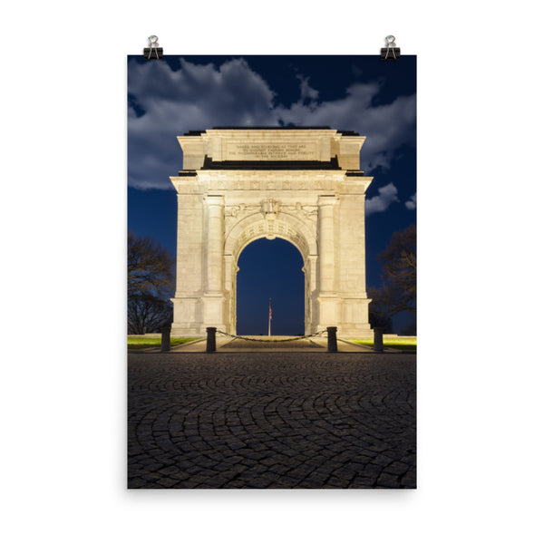 Night Photo At Valley Forge Arch Urban Landscape Loose Unframed Wall Art Prints  - PIPAFINEART