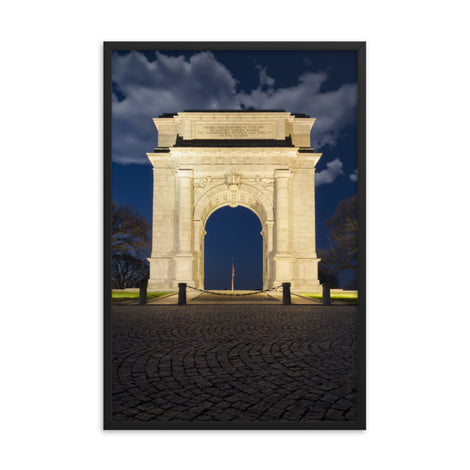 Night Photo At Valley Forge Arch Urban Landscape Photo Framed Wall Art Print