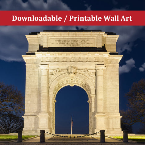 Valley Forge Arch Urban Night Landscape Photo DIY Wall Decor Instant Download Print - Printable