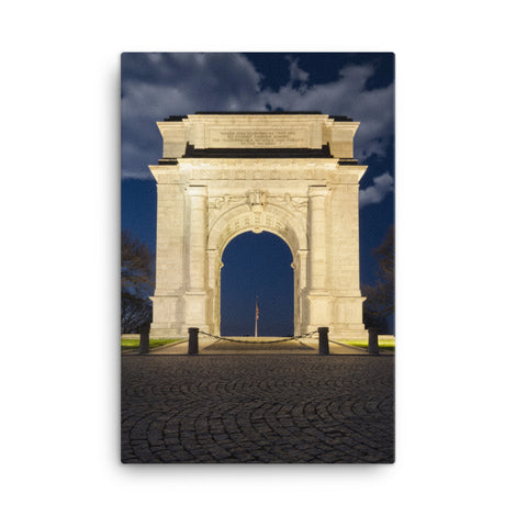 Night Photo at Valley Forge Arch Urban Landscape Traditional Canvas Wall Art Print