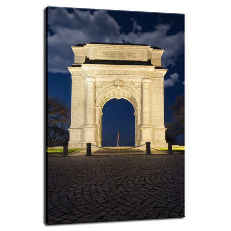 Valley Forge Memorial Arch Night Photo Fine Art Canvas Wall Art Prints