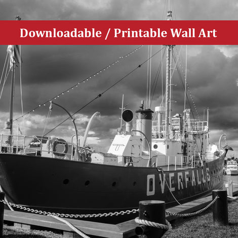 Overfalls Lightship Landscape Photo DIY Wall Decor Instant Download Print - Printable