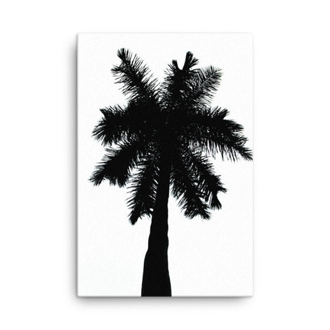 Palm Tree Silhouette on Pure White Canvas Wall Art Print
