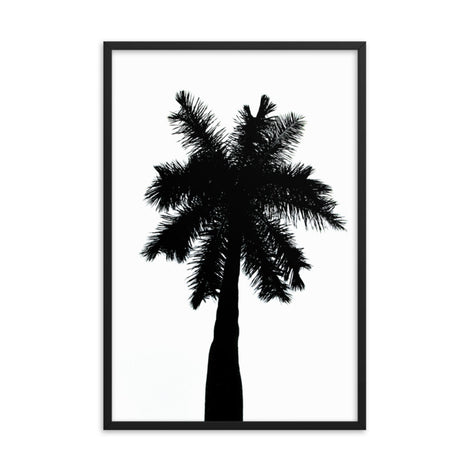 Palm Tree Silhouette on Pure White Botanical Nature Photo Framed Wall Art Print