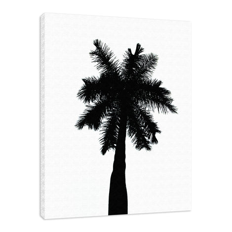 Palm Tree Silhouette on Pure White Nature / Botanical Photo Fine Art Canvas Wall Art Prints