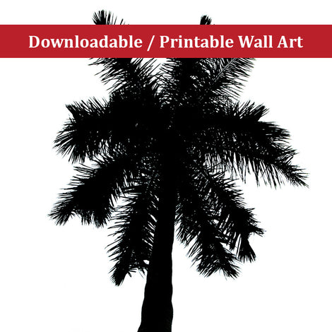 Palm Tree Silhouette on Pure White Botanical Nature Photo DIY Wall Decor Instant Download Print - Printable