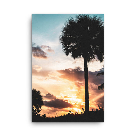 Palm Tree Silhouettes and Sunset Botanical Nature Canvas Wall Art Prints