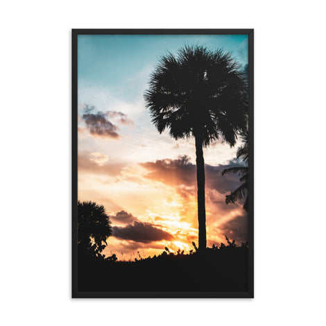 Palm Tree Silhouettes and Sunset Botanical Nature Photo Framed Wall Art Print