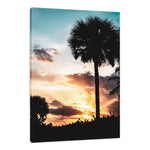 Palm Tree Silhouettes and Sunset Coastal Landscape Photo Fine Art Canvas & Unframed Wall Art Prints