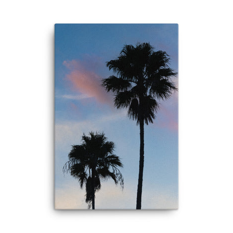 Palm Tree Silhouettes on Blue Sky Botanical Nature Canvas Wall Art Prints