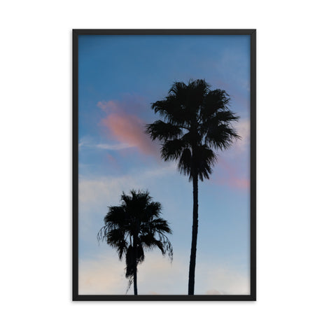 Palm Tree Silhouettes on Blue Sky Botanical Nature Photo Framed Wall Art Print