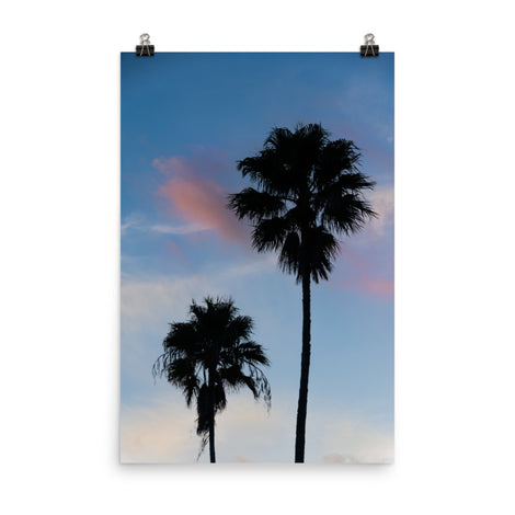 Palm Tree Silhouettes on Blue Sky Botanical Nature Photo Loose Unframed Wall Art Prints