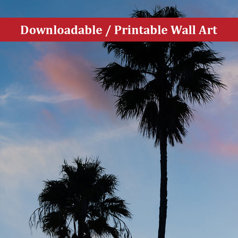 Palm Tree Silhouettes on Blue Sky Botanical Nature Photo DIY Wall Decor Instant Download Print - Printable
