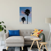 "Palm Tree Silhouettes on Blue Sky Nature / Botanical Photo Fine Art Canvas Wall Art Prints 24"" x 36"" / Fine Art Canvas - PIPAFINEART"