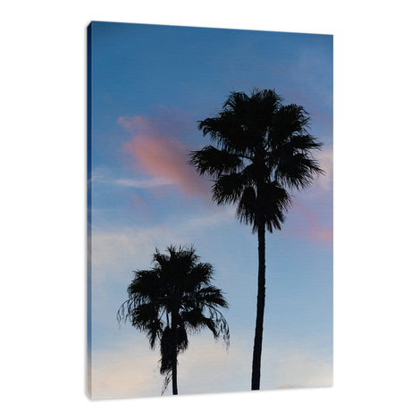 Palm Tree Silhouettes on Blue Sky Nature / Botanical Photo Fine Art Canvas Wall Art Prints