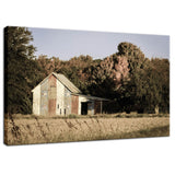 Rural Landscape Photo Patriotic Barn in Field Aged Effect- Fine Art Canvas - Home Decor Wall Art Prints Unframed