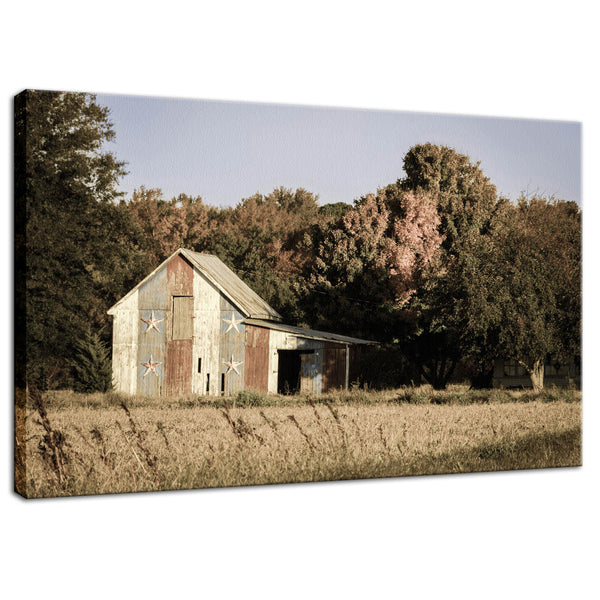 Rural Landscape Photo Patriotic Barn in Field Aged Effect- Fine Art Canvas - Home Decor Wall Art Prints Unframed - PIPAFINEART