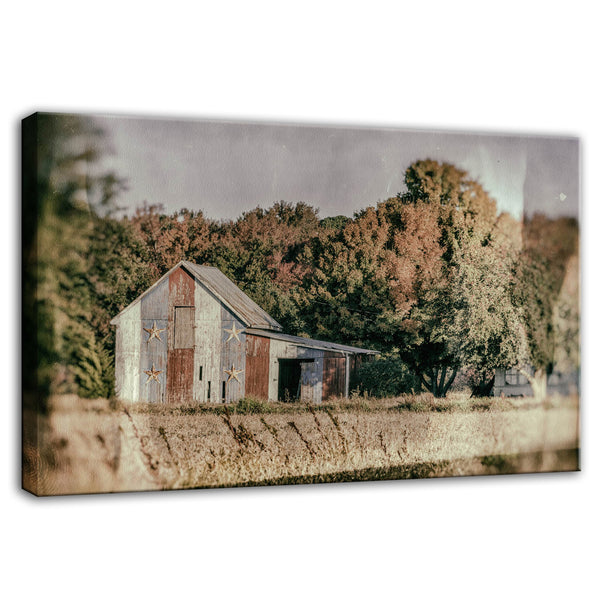 Patriotic Weathered Barn in Field Glass Plate Effect Fine Art Canvas Wall Art Prints  - PIPAFINEART