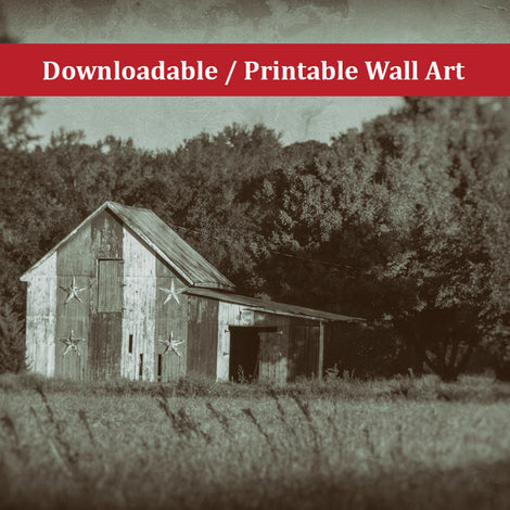 Patriotic Barn in Field Vintage Black and White Landscape Photo DIY Wall Decor Instant Download Print - Printable