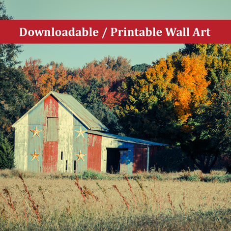 Patriotic Barn in Field Cross Processed Landscape Photo DIY Wall Decor Instant Download Print - Printable
