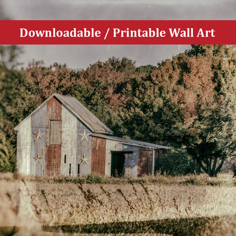 Patriotic Barn in Field Glass Plate Landscape Photo DIY Wall Decor Instant Download Print - Printable