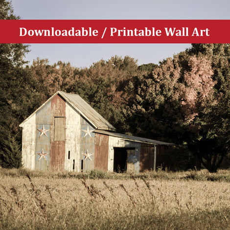 Patriotic Barn in Field Aged Landscape Photo DIY Wall Decor Instant Download Print - Printable