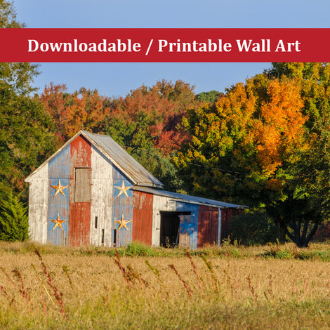 Patriotic Barn in Field Traditional Color Landscape Photo DIY Wall Decor Instant Download Print - Printable